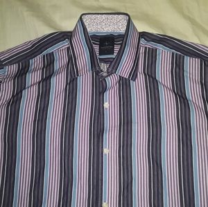 TAILORBYRD purple stripe L button down dress shirt